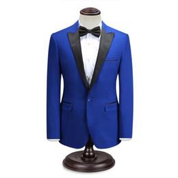 Elegante chaqueta de esmoquin negro online-Los hombres negros y azules se adaptan a la chaqueta de los smokings de la boda de los hombres de encargo de la chaqueta un botón vestido de partido del baile de fin de curso elegante
