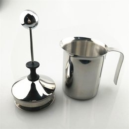 Wholesale wholesale coffee accessories - 400ml Manual Milk Frother Double Stainless Steel Mesh Beater Tool Cappuccino Coffee Creamer Foamer Practical Kitchen Accessory 19jg YY