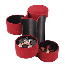 Wholesale Roll Black Velvet - 3 Tier Mini Velvet Jewelry Box Case Organizer Compartment Travel Roll Up Gift Holder Red Pink Purple Black