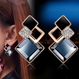 blue rose charms Promo Codes - Women Rhombus Stud Earrings Crystal Rose Gold Silver Alloy Girl Lady Noble Shiny Eardrop Retail Wholesale Lots (TM002)