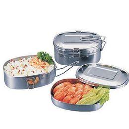Almuerzo de acero inoxidable online-Cajas de almuerzo de doble cubierta de acero inoxidable con asa, vajilla de uso múltiple, bolsos de cena, varios tamaños, alta calidad 6 5sy3 ww