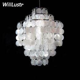 26 colgante de luz led Rebajas Diy Shell Diámetro de luz de luz 26 cm 38 cm Lámparas de Shell Diversión 3 Círculos luces de araña de concha natural DIVERSIÓN colgante modernas arañas