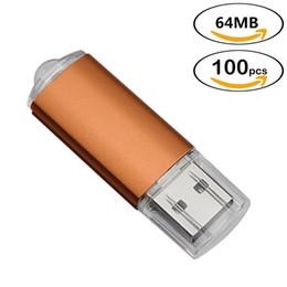 velocità compresse Sconti Orange Bulk 100pcs rettangolo USB 2.0 Flash Drive 64 MB Flash Pen Drive ad alta velocità 64 MB di memoria del pollice Memory Stick per computer portatile Tablet