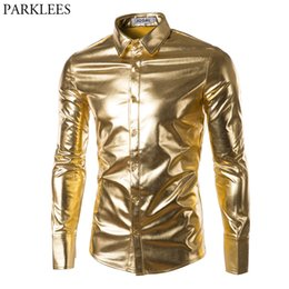 2019 золотые пуховики Ночной клуб Wear Mens Dress Shirts Slim Fit Shiny Gold Coated Metallic Shirt Мужская рубашка с длинным рукавом с длинным рукавом для дискотеки скидка золотые пуховики