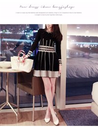 Wholesale South Korean Fashion Dresses - Autumn and winter new south Korean dress fashion dress stylish women's wear thin and thin fragrance of the top of the bottom skirt