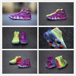 Wholesale 4s Pink - 2018 What the Kyrie Irving 4 Basketball Shoes for Best quality Kyrie4 Men's Kyrie 4s Purple Yellow Black White Sports Sneakers Size 40-46
