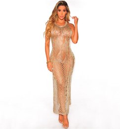 Wholesale Golden Sexy Club Dresses - Hot 2018 New High Technology Sexy Perspective Mesh Dress Golden O-neck Vest Evening Nightclub Dresses Purple Sexy Beach Dress