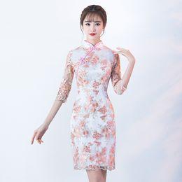 Weiße spitze cheongsam kleider online-Weiß Rosa Mini Qipao Spitze Chinesische Tradition Hochzeit Cheongsam Moderne Robe Chinoise Qi Pao Vintage Orientalische Kleider Größe S-3XL