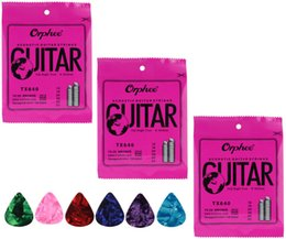Wholesale Guitar String Ends - Wholesale-3 Sets Orphee Colorful Ball-End Great Bright Tone Anti-Rust Long Life Electric Acoustic Guitar Strings ,Free Celluloid Picks