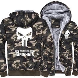 2017 el punisher Army Ggreen Camouflage casual marca streetwear chaqueta  gruesa de los hombres divertidos sudaderas con capucha homme cráneo chándal  abrigo ... 96f9d90362a4