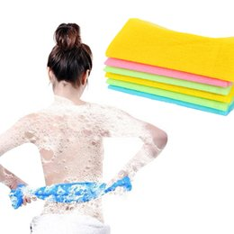Toalla exfoliante de nylon online-Exfoliating Nylon Bath Shower Body Cleaning Lavado de fregado Scrubbers de la toalla