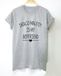 Wholesale White Shirts For Ladies - Draco Malfoy is My Boyfriend Letters Print Women tshirt Cotton Casual Funny t shirt For Lady Top Tee Hipster Drop Ship