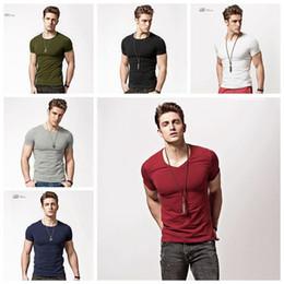 Wholesale men wholesale v necks - Men V Neck Tops Tee Shirt Slim Fit Short Sleeve Solid Color Casual Round Collar T-Shirt OOA4557
