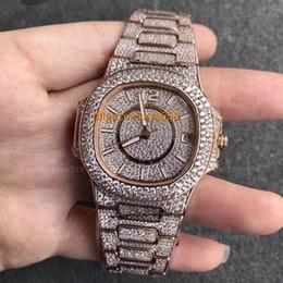 2019 relógios a quartzo Melhor Qualidade Nautilus Relógio De Luxo Mulher 33.5mm Relógio De Diamante Completa Movimento Mecânico À Prova D 'Água Relógio Da Menina 7021 2 Cor desconto relógios a quartzo