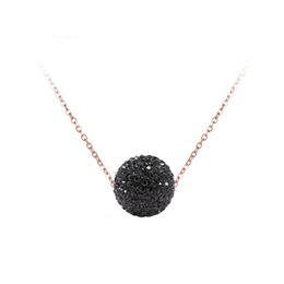 disco rose Promo Codes - JeeMango Pave Setting CZ Crystal Disco Ball Pendant Necklace Rose Gold Color Stainless Steel Chain Link Necklaces Jewelry