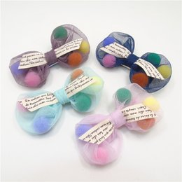 Wholesale Tulle Hair Clip Wholesale - 10pcs Lot Pom Pom Bow Hair Clip Colorful Puffy Ball Gauze Tulle Bow Knot Girl Hairpin Vintage Fairy Bow Candy Festive Barrette