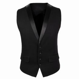 Chaqueta gris de chaleco negro online-CH.KWOK Chaleco de traje negro para hombres Cuatro botones Chaqueta de vestir formal para hombre gris de la moda Chaqueta sin mangas para hombre de un solo pecho de Breasted