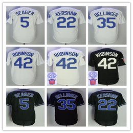 Wholesale Clayton Baseball - Men's L.A 22 Clayton Kershaw Jersey 5 Corey Seager 35 Cody Bellinger 42 Jackie Robinson baseball Jerseys