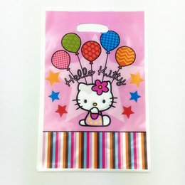 Wholesale Candy Happy Birthday - Wholesale- 6pcs Hello Kitty KT theme PE printed plastic candy bags,shopping gift bag for Kids happy birthday event party supplies