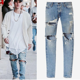 0a96253ffe6 2018 Knee Hole hip hop men s hole washed Jeans high quality pants jeans  casual oversize light blue pencil