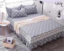 2019 cobertor de coberta contornado 1 pcs gêmeo completa rainha 100% algodão cama cama saia colcha colchão capa protetora antiderrapante cama saia colcha equipada