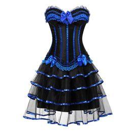 robes burlesques grande taille Promotion corset burlesque et jupe ensemble costumes vintage à rayures florales dentelle robe bustier corset bustier pour les femmes cosplay plus la taille