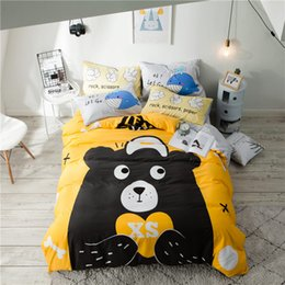 Conjuntos de hojas amarillas online-2018 Bear Yellow Bedding Sets sábanas de algodón funda nórdica Set 3 / 4Pc Twin Queen sábana plana sábana ajustable sábanas funda de almohada