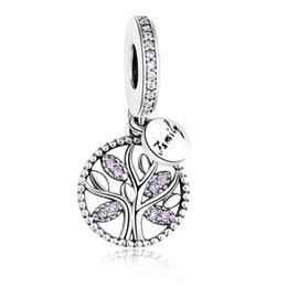 Canada Européenne 925 Sterling Argent Famille Arbre Rose Cristal Charmes Perles Fit Pandora Charme BraceletNecklace Authentique Fabrication de Bijoux Offre