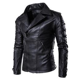 Wholesale Leather Fur Coats For Men - Wholesale- Leather jacket men slim fit motorcycle men's jackets zipper Drawstring decoration faux fur coats for men fashion large size coat
