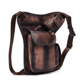 Piccolo disegno del sacchetto di imballaggio online-Vendita calda Crazy Horse Real Leather Design uomo vintage Coffee Small Belt Messenger Bag Vita Pack Pack Drop Leg Bag Pouch 3106db