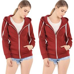 Wholesale Ladies Zip Up Hoodies - Ladies Plain Zip Up Fleece Hoody Women Sweatshirt Coat Top Hoodies Lady Womens Warm Zipper Hoodies Sweatshirts Tops