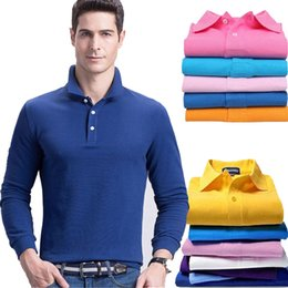 Wholesale Clear Boutique - New Mens Fashion Boutique Cotton Leisure Stand Collar Long Sleeve Embroidery Polo Shirts Male Pure Color Polo Shirts Free Shipping