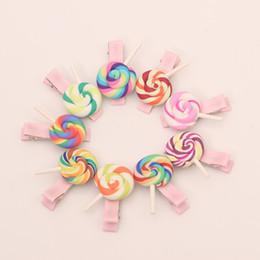 Wholesale plastic snap clips - 20pcs lollipop Kids Hair Clips Bows Accessories For Girls Hairgrip Headdress Headwear Clip Hair Barrette Hairgrip Snap Hairpin