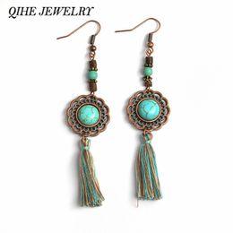 Wholesale Beaded Flags - Drop earrings Vintage blue stone fringe tassel flower charm wood beaded earrings brincos earrings for women