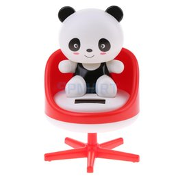 Wholesale Panda Ornament - Solar Powered Dancing Nodding Animal Panda on chair Model Pet Toy Car Home Decoration Ornaments Gift Red