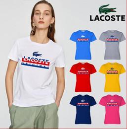 2019 marcas t shirt francês T-shirt das mulheres marca de crocodilo francês verão casual impressão 100% algodão t-shirt das mulheres trecho de manga curta T-shirt tamanho s-xl marcas t shirt francês barato