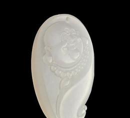 2019 ожерелье из нефрита смеха будды Природный Афганский Белый Нефрит Будда Глава Кулон Овец Жир Белый Нефрит Смех Будда Глава Ожерелье дешево ожерелье из нефрита смеха будды