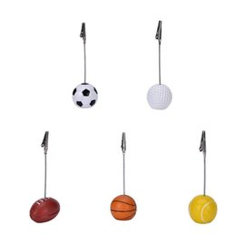 Wholesale Photo Christmas Balls - Sport Ball Photo Clip Alligator Wire Card Memo Photo Clip Holder Table Place Card Holder Event Party Favor 500pcs OOA3856