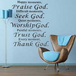 Wholesale Happy Stickers - Happy Moment Praise Bible God Removable Sticker Phrase Word Wall Decals Removable PVC Wall Sticker For DIY Home Decoration