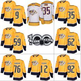 Mens Nashville Predators Jersey with 100th Patch 35 Pekka Rinne 12 Mike  Fisher 59 Roman Josi 76 P.K Subban 92 Ryan Johansen Hockey Jerseys 9ec9464ac