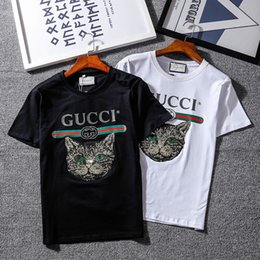 53d07f35a Mens Designer T Shirts Summer Luxury Brand T Shirts New Fashion Mens Shirts  Cat Letter Print Loose Crew Neck Breathable Short Sleeve Couple
