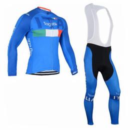 Wholesale Italia Cycling - 2018 New Italia Cycling Jerseys Set Blue Long Sleeve Winter Thermal Fleece With Padded Bib None Bib Pants Elastic Suit Size XS-4XL