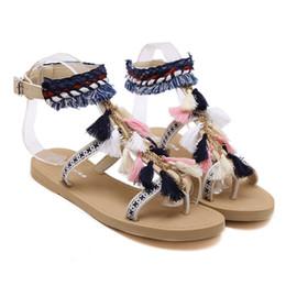 Wholesale Ladies Summer Footwear Sandals - Summer Women's Sandals Bohemia Gladiator Sandal Women Shoes Flip Flops Sandalias Tassels Ladies Shoe Fashion Female Footwear Brag