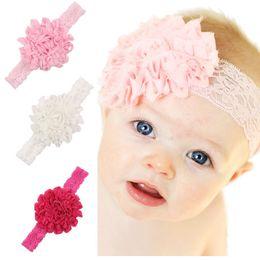 Capelli rosa baby hairbands online-3pcs / pack Bambini Neonate Copricapo Fascia per capelli Fascia floreale per bambini Accessori per capelli Elastico carino Hairband Bianco Rosa rosa