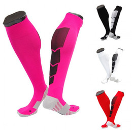 hot women nylon socks Promo Codes - Hot Sale Compression Sock For Women & Men Soccer Socks Non-slip Sport Football Socking 6 Colors Wholesale Free DHL G467Q