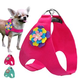 Wholesale Cat Poodle - Soft Suede Leather Dog Harness Cute Floral Vest For Small Medium Puppy Cat Chihuahua Poodle Yorkie ShihTzu Blue Pink XS S M L