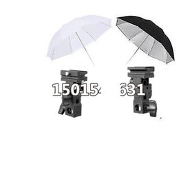 Wholesale Umbrella Bracket - Flash Mount Bracket Kit Light Stand Flash Bracket B Mount 33 inch Umbrella Black Reflective Umbrella+white studio Umbrella