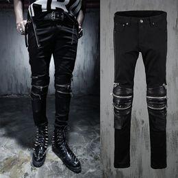 2018 Hommes Punk Biker Jeans Noir PU En Cuir Épissé Moto Jeans Zippered Au Genou Nouveau 2016 Célébrité Même Style Livraison Gratuite ? partir de fabricateur