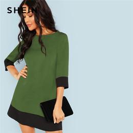 35e0524997d SHEIN Green Going Out Contrast Trim Tunic Three Quarter Length Sleeve Shift  Colorblock Dress Autumn Modern Lady Women Dresses discount women going out  ...