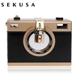 Wholesale Party Cameras - SEKUSA Camera Clutch Handbag For Women Evening Party PU Shoulder Bags Casual Crossbody Bag Ladies Hard Case Box Clutch Bag